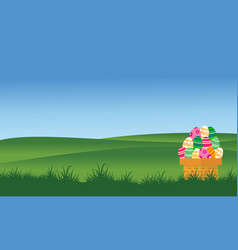 On the hill easter egg collection stock vector