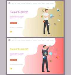 online business worker with access to internet vector image