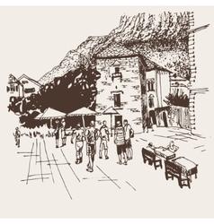 Original sepia sketch drawing of Kotor street vector