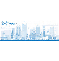 outline baltimore skyline with blue buildings vector image