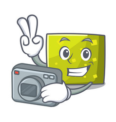photographer square mascot cartoon style vector image