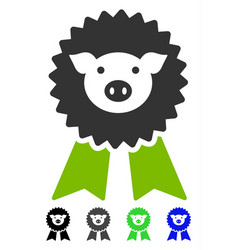 Pig award seal flat icon vector