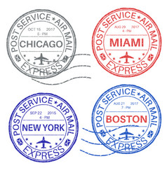 Postmarks collection of ink stamps vector