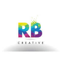 Rb r b colorful letter origami triangles design vector