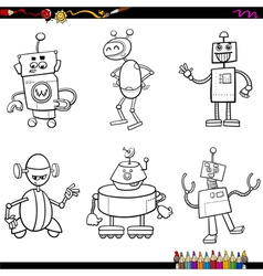 Robot characters coloring book vector