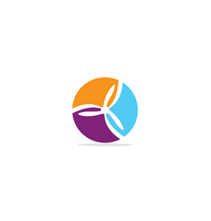 round colored circle fan logo vector image