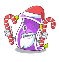 Santa with candy magic carpet with a banner vector