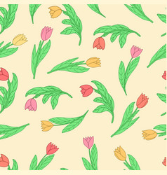 Seamless pattern with cute cartoon colored vector