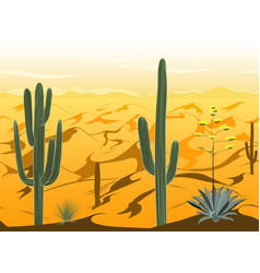 Seamless pattern with desert landscape and cacti vector