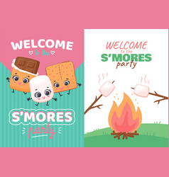 Set invitations for smores day party kawaii vector