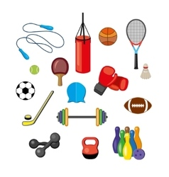 Set of flat sports equipment icons for gym vector image