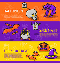 set of linear halloween banners - cat bats skull vector image