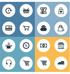 Set of simple purchase icons vector