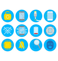 set with repair smartphone icons vector image