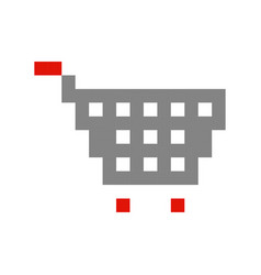 Shopping cart pixel art cartoon retro game style vector