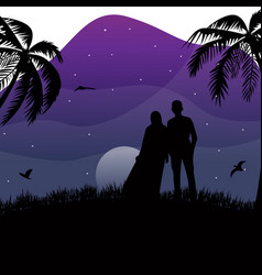 Silhouette moslem couple standing on nature vector
