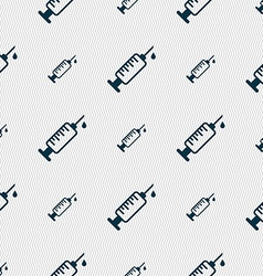 Syringe icon sign Seamless pattern with geometric vector