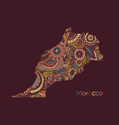 Textured map morocco hand drawn ethno vector