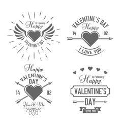 valentines day black typographic labels vector image