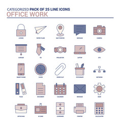 Vintage office work icon set - 25 flat line icon vector