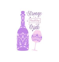 Vintage plum design for bottle and glass vector