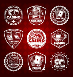 White vintage gambling labels set vector