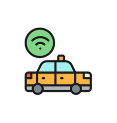 wi-fi car taxi wireless flat color line vector image