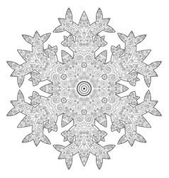 Winter coloring page with anti stress snowflake vector