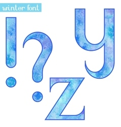 Winter watercolor font YZ and marks vector