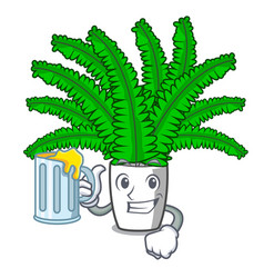 With juice cartoon natural green fern in the vector