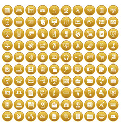 100 database icons set gold vector image vector image