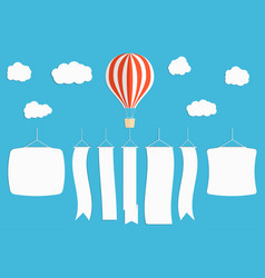 flying advertising banner hot air balloon with vector image vector image