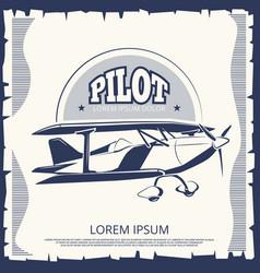 label design - vintage poster airplane vector image vector image