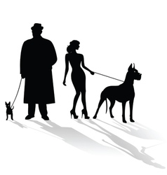 people and dogs vector image