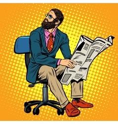 Bearded businessman reading a newspaper vector image vector image
