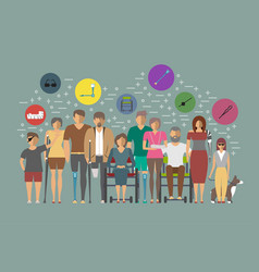 disabled people banner in flat design vector image
