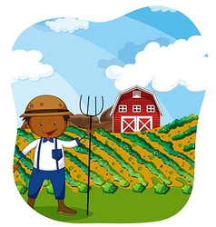 Farmer working in the farmland vector image vector image