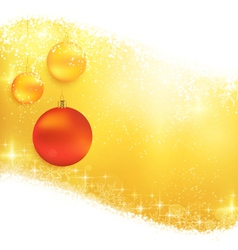 Golden sparkling Christmas background with hanging vector image vector image