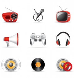 media and music icons vector image