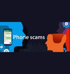 Phone scam via smart-phone security fraud vector