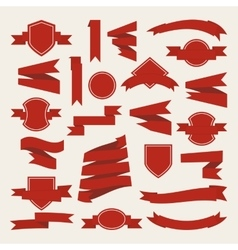 Red curving Ribbons set vector image
