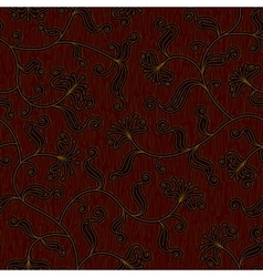 seamless floral dark red damask pattern background vector image vector image