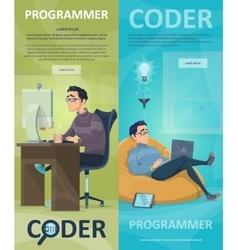 Technology programming vertical banners vector