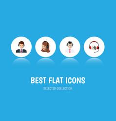 flat icon telemarketing set of hotline service vector image vector image