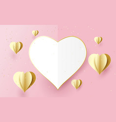 happy valentines day white and gold heart shape vector image