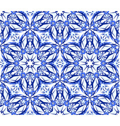 kaleidoscope blue star flower pattern vector image vector image