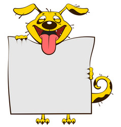 smiling yellow dog holding blank white sheet of vector image vector image