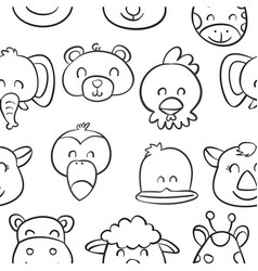 collection cute animal doodle style vector image vector image