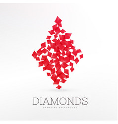 Diamonds shape playing card element background vector