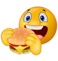Emoticon smiley eating hamburger vector image